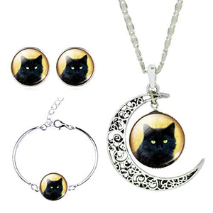 SHIP BY USPS: Jiayiqi Women Lifelike Black Cat New Moon Gem Necklace Bracelet Earrings Set