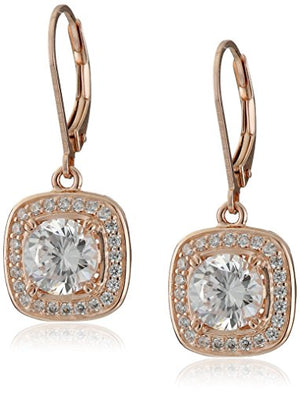 SHIP BY USPS: Sterling Silver Cubic Zirconia Round-Cut Halo Drop Leverback Earrings (3 cttw)