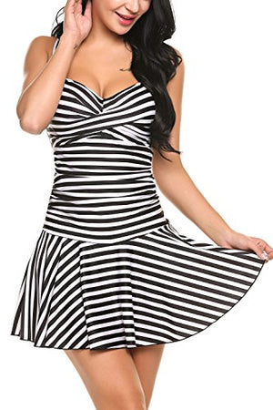 Women's One Pieces Swimsuits Striped Slim Swimwear Padded Swim Dress Bikinis