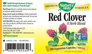 SHIP BY USPS: Nature's Way Red Clover 460 mg. Combo, 100 Capsules