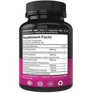 SHIP BY USPS: Resveratrol Supplement - Potent 1400mg Formula With Trans Resveratrol, Quercetin, Grape Seed, Green Tea,...