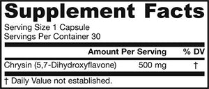 SHIP BY USPS: Jarrow Formulas Chrysin 500mg, 30 Capsules