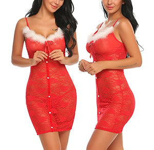 Womens Lace Chemise Lingerie Set Red Christmas Babydoll Dress