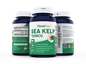 Best Sea Kelp 150mcg 200 Capsules (NON-GMO & Gluten Free) - For Weight Loss, Thyroid Support, Helps With Hair And...