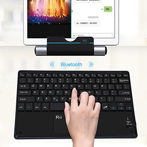 (2018 New Arrival)Rii BT11 Ultra-slim Wireless Bluetooth Keyboard With Built-in Multi-touchpad Function And Rechargeable Battery For Androids And Windows,Black Color