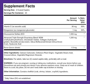 Advanced Formula Triple Strength Glucosamine Chondroitin MSM Plus 90 Coated Caplets...