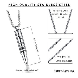 SHIP BY USPS: Reve Bible Verse Proverbs 4:23 Stainless Steel Cross Bullet Pendant Necklace for Men, 20''-24'' Chain