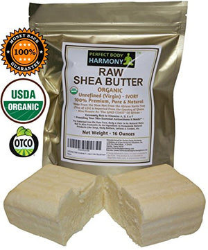 SHIP BY USPS Real Certified ORGANIC RAW SHEA BUTTER, PREMIUM Unrefined African IVORY Tan/White Color; 16.0 oz [Two...