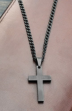 SHIP BY USPS Jenhianeck Hip Hop Stainless Steel Cross Tag Pendant Necklace With 55CM Chain