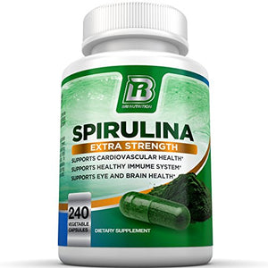 SHIP BY USPS BRI Nutrition Spirulina - 2000mg Maximum Strength Supplement - 30 Day Supply - 120 Veggie Capsules