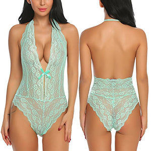 Women One Piece Lingerie Lace Teddy V Neck Bodysuits Halter Babydoll