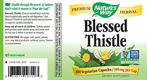 SHIP BY USPS: Natures Way Blessed Thistle, 390 milligrams Per Cap, 100 Vegetarian Capsules