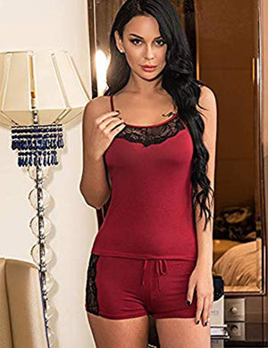 Women Sleepwear Lace Pajamas Set Shorts Nightwear Camisole Sets S-3XL