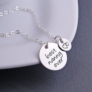 Mother's Day Gift for Nanny, Silver Best Nanny Ever Necklace, Nanny Jewelry Gift with Heart Charm
