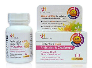 [2 Bottles] vH essentials Probiotics with Prebiotics and Cranberry Feminine Health Supplement, 60 Count