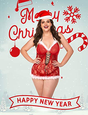 Womens Christmas Lingerie Santa Dress Red Babydolls Lace Chemise S-XXL