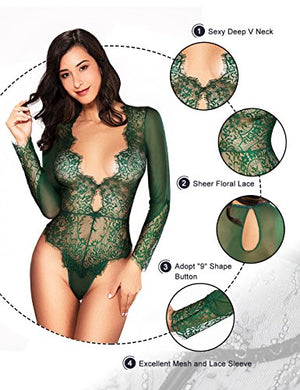 Women Sexy Lingerie Long Sleeve Bodysuit Lace Deep V Bodysuit Lingerie Sheer Teddy Lingerie