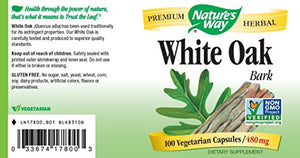 SHIP BY USPS: Nature's Way White Oak Bark Capsules, 480mg (100-Count)