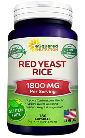 SHIP BY USPS: Red Yeast Rice 1800mg - Dietary Supplement Powder Pills to Support Cardiovascular Health - 180 Capsules