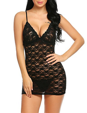 Women Negligee Lingeire Floral Lace Babydoll Strap Chemise