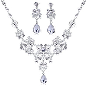 SHIP BY USPS: Dxhycc Silver Alloy Rhinestone Earrings Crystal Pendant Necklace Bridal Jewelry Set (White)