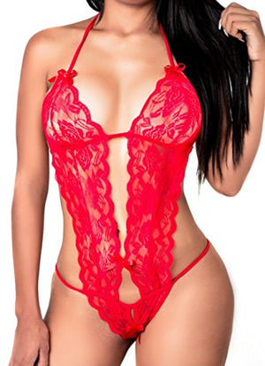 Women Deep V Halter Lingerie Lace Babydoll Mini Bodysuit, One Size