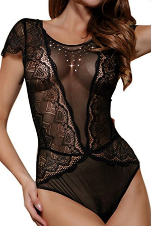 Sexy Lace Teddy Women Lingerie Mesh One Piece Sleepwear Outfit