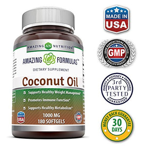 [2 Bottles] Amazing Nutrition Amazing Formulas Extra Virgin Coconut Oil Dietary Supplement - 1000mg - 180 Softgels Each