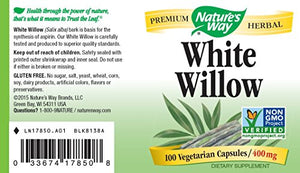 SHIP BY USPS: Nature's Way White Willow Bark, 100 Capsules