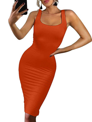 BEAGIMEG Women's Sexy Bodycon Sleeveless Pencil Knee Length Club Tank Dress