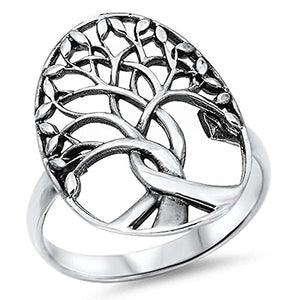 Solid Sterling Silver Tree of Life Ring Family Tree sizes 4-12 Three Colors Available