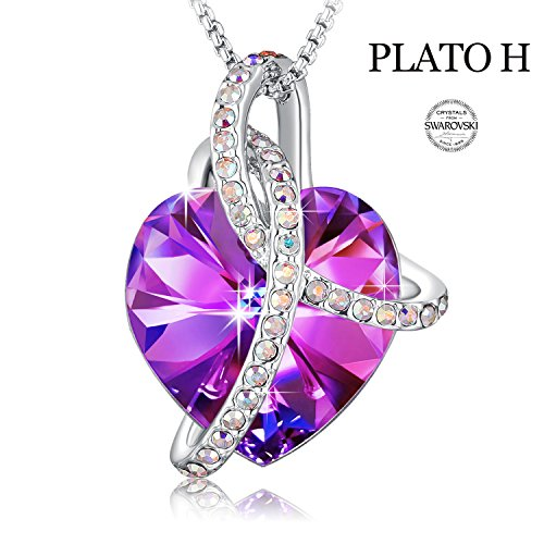 """Courageous Heart"" Love Heart Fashion Pendant Necklace PLATO H Noble Heart Pendant Necklace Heart Shape Necklace With Swarovski Crystals Fashion Jewelry for Women, 18"""