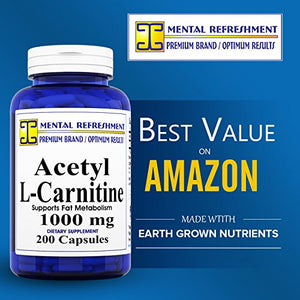 SHIP BY USPS Pure Acetyl L-Carnitine: Maximum Strength 1000 mg 1 bottle - 200 Capsules