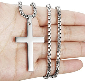 SHIP BY USPS Jewelry Mens Simple Cross Necklace Stainless Steel Pendant for Women 22 24 Inch