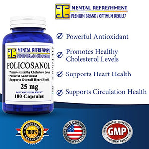 SHIP BY USPS: Pure Policosanol - 25mg 180 capsules - Supports Cardiovascular Health,...