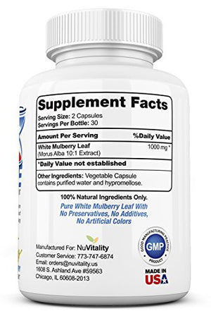 SHIP BY USPS High Blood Sugar Control Supplement With Premium White Mulberry Leaf Extract (Morus Alba) 1000mg - Lower...
