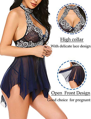 Lingerie for Women Lace Babydoll Nightdress Sexy Sleepwear Nightie with Keyhole Halter
