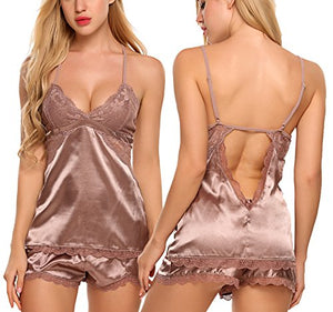 Women Sleepwear Satin Pajamas Set Lace Cami Shorts Nightwear