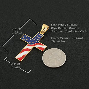 SHIP BY USPS:  American Flag Patriotic Cross Religious Jewelry Enamel Pendant Necklace