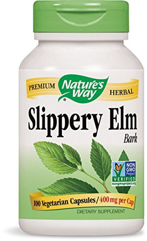 SHIP BY USPS: Nature's Way Slippery Elm Bark, 400 mg, 100 Capsules (Pack of 2)