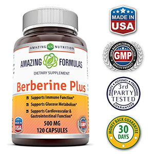 SHIP BY USPS: Amazing Formulas Berberine 500mg 120 capsules - Supports Immune Function, Glucose Metabolism and...