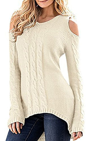 Merryfun Women's Cold Shoulder Sweater Fall Long Sleeve Knit Pullover Tops