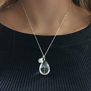 "Popular High Quality Dandelion Wish Pendant Necklace with Swarovski Crystal Pearl Charm on 18"" Sterling Silver Chain with Silver Plated Extension, by Aimee Tresor"