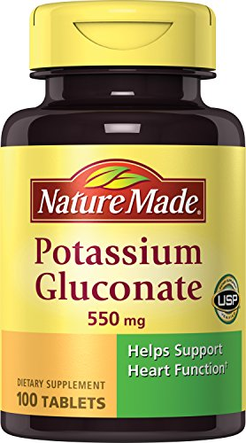 SHIP BY USPS: Nature Made Potassium Gluconate 550mg, 100 Tablets