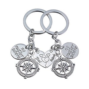 lauhonmin 2pcs BBF Best Friends Key Chain Ring Set No Matter Where Compass Split Broken Heart Friendship Gift Unisex