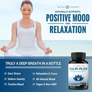 SHIP BY USPS CALM FLOW Stress Relief Supplement - Herbal Blend & Vitamin B Complex - Keep Your Mind & Body Relaxed, Focused...