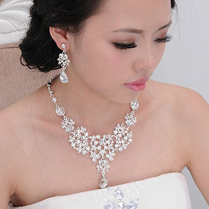 SHIP BY USPS: Honbay Bridal Jewelry Set Silver Alloy Rhinestone Earrings Crystal Pendant Necklace