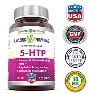 Amazing Formulas 5 HTP Supplement * 100mg Hydroxytryptophan Capsules Made from...