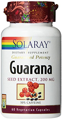 SHIP BY USPS: Solaray Guarana Seed Extract Supplement, 200mg, 60 Count