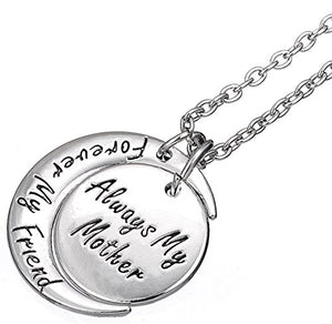 'ALWAYS MY MOTHER FOREVER MY FRIEND' Engraved Crescent Moon Pendant Necklace - Mom Jewelry Gifts From Son Daughter